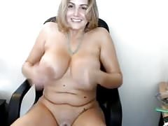 Cute chubby girl rubs her boobs