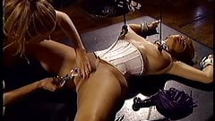 Shaved pussy stimulated by vibrator and clothes pins