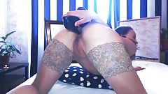 Horny Babe Shoves High Heels in Her Ass