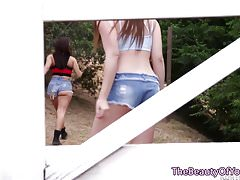 Lesbian teenager sixtynines in sapphic couple