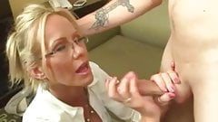 Femdom Blond Milf Handjob her Slave guy