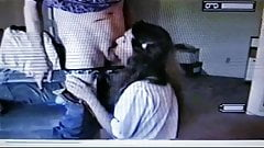 Tv in white blouse sucking daddy