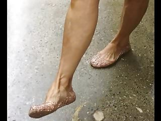 Candid Mature Lady Shows Off Her Jellie Shoes