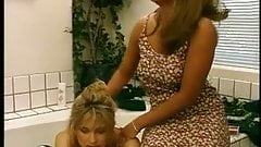 Horny housewives get naked together in bathtub