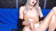 Silver Haired Tranny Cumming For Her Fans
