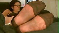 nylon feet in my face