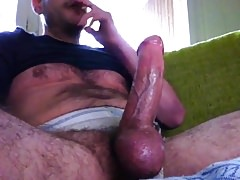 Smoking Daddy Jerks Off His Big Cock & Cums