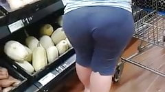 Candid BBW with VPL Picking Out Groceries at Walmart