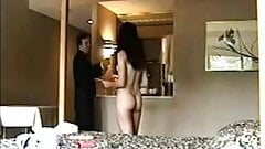 Skinny woman films herself teasing hotel room service staff