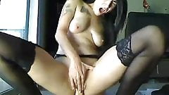 Cute EMO girl ridding dildo and squirt