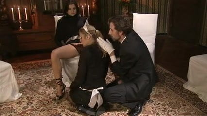 Classy MILF scissoring pussies with her maid