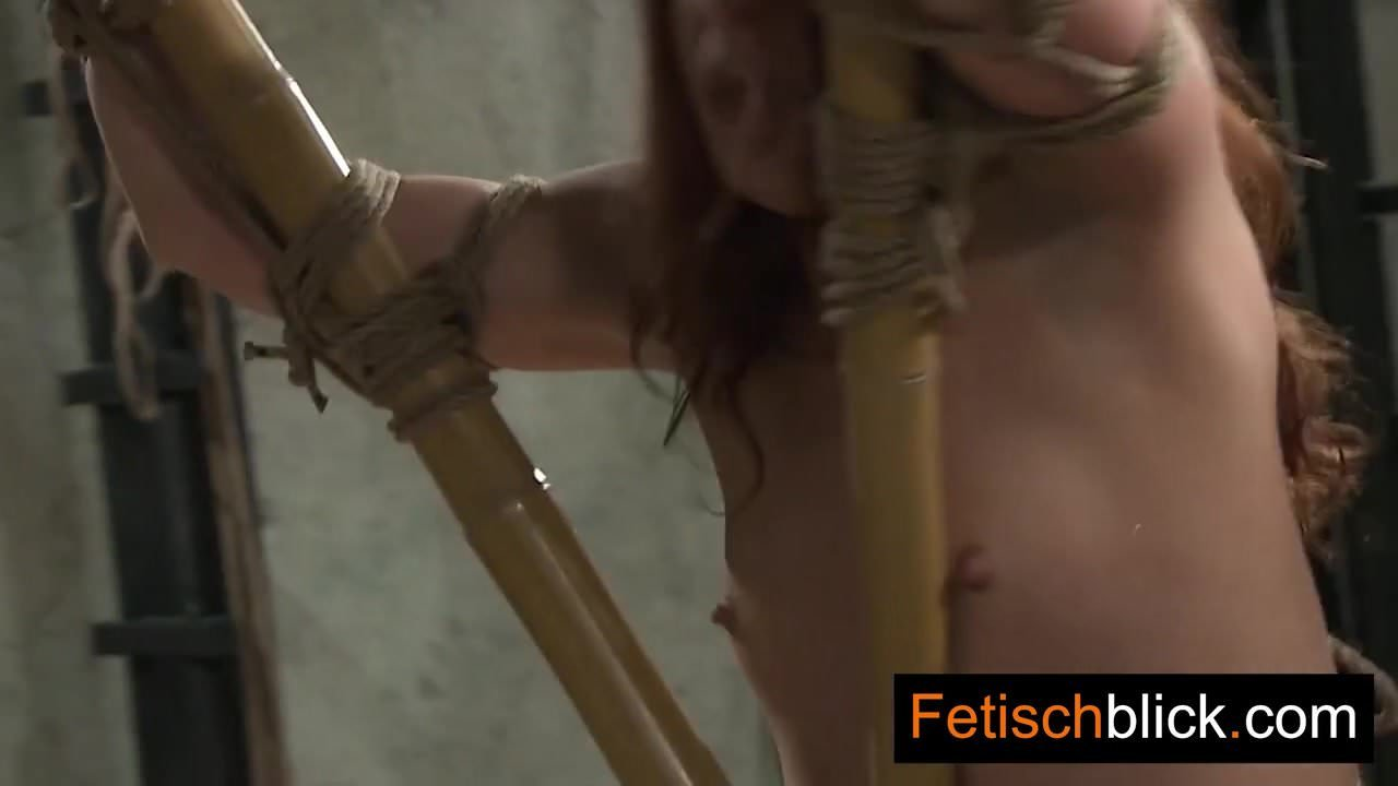 Fetish bitch tortured with bat slapped hard on butt then