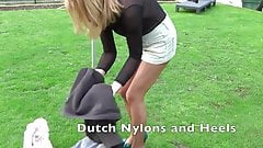 Outdoor teasing Dutch Nylons and Heels