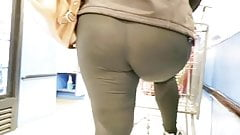 Big White Booty in black leggings - ass hole seen through