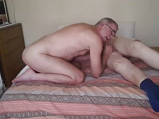Sucking older chubby cums in my mouth.