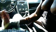 Black girl with big boobs gives handjob in car