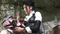 German Leather Lady male slave