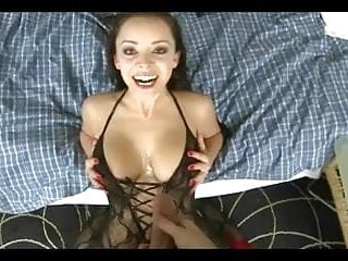 She gets a warm cum shower on her hot body