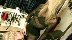 The mistress with her shemale and crossdress slave