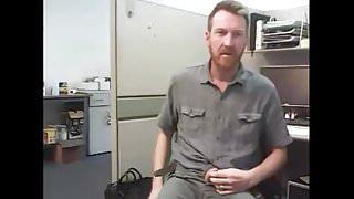 dad strokes his cock at the office