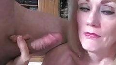 Melanie makes hubby watch her suck a cock