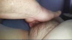 fingering my wifes soft chubby hairy pussy to orgasm.