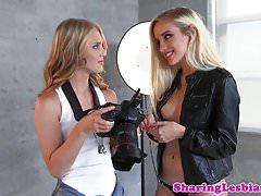 Lesbian model licked closeup before fingering