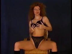 sexy lady curly hair slow striptease to nude