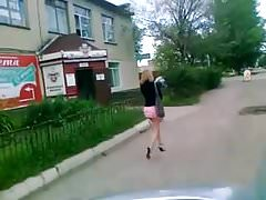 Girl in extremly short skirt in the street