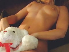 sexy blond plays naked
