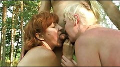 Russian amateur mature group sex in nature's Thumb