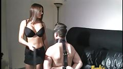 Busty brunette hottie bangs her man with a massive sex toy