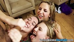 Partying teens ride n tug