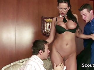 MILF Seduce To Fuck by Two Young Boys When dad Away