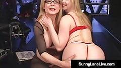 Little Sunny Lane Gets Pussy Pleasured By GILF Nina Hartley!