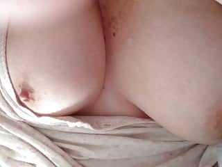het big boobs hanging out as i play with mu uncut cock.
