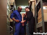Interracial hunk pounded in storage room trio