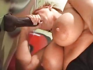 Big Tit MILF Swallows Thick Black Cock On Toilet