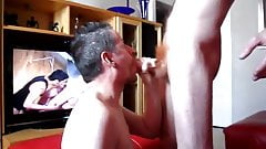 Ginger cock gets a blowjob watching gay porn gives a facial