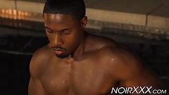 Hunky muscular black gay De Angelo Jackson jacks off