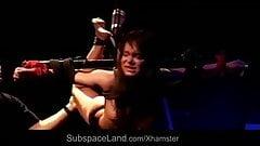 Busty mini slavegirl surrenders to suck after pain