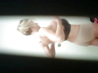 REAL hidden cam! Hot, fit blond changing in bathroom