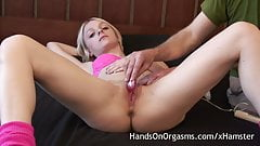Hot Blonde Masturbated By Old Cameraman To Strong Orgasm
