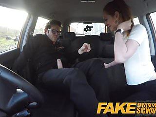 Preview 4 of Fake Driving School Redhead Ella Hughes eats instructors cum