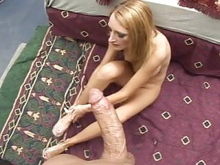 Dirty girl love to gag on cock lucing it up for a footjob
