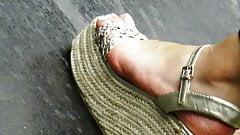 Candid sexy arabian feet in wedges heels