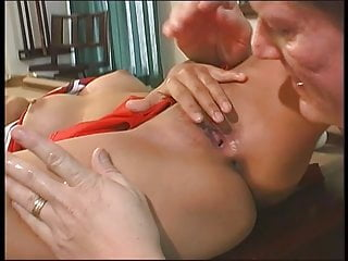 Asian cheerleader with nice tits spreads wide for dude to finger-fuck her cunt