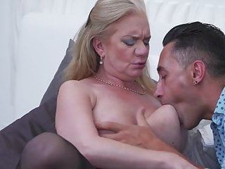 Big breasted mature mom seducing lucky son