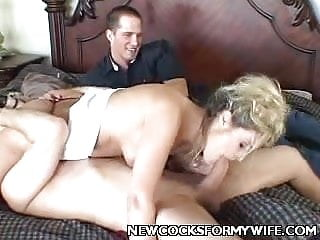 Blonde Wife Sucking off a Fat Cock