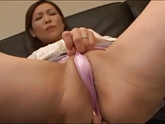 Japanese mommy widow masturbates